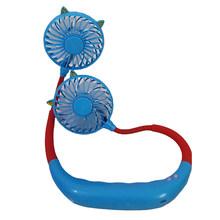 Мини портативный вентилятор подвесной шейный вентилятор USB Перезаряжаемый двойной вентилятор воздушный охладитель Кондиционер красочный ...(China)