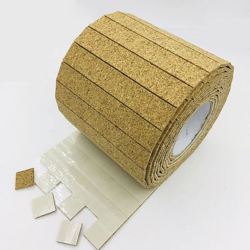 Self-adhesive Square Cork Spacers Pads For Glass Protecting 15*15*3mm cork + 1mm Cling Foam On Rolls