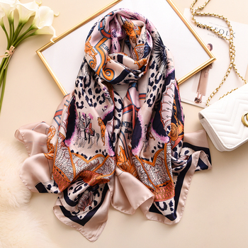 Wholesale 2020 latest digital print custom design silk scarf luxury vintage leopard printed big long satin silk scarves