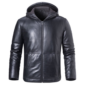 Men's Real Leather Down Jacket Hoodie Men Genuine Lambskin Winter Warm Leather White Duck Down Coat