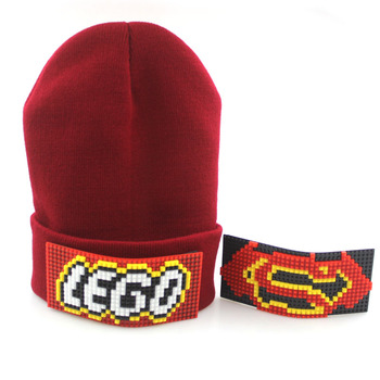 DIY Mosaic Hats autumn winter knit phase element jigsaw wool hats cute Korean style hats