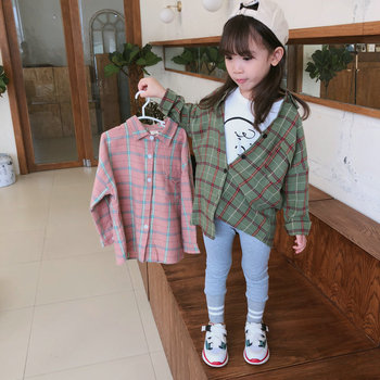 Cotton Fall Autumn Children Shirts Clothes Kids Long Sleeve Blouse New Plaid Casual Shirt And Jacket T-shirts