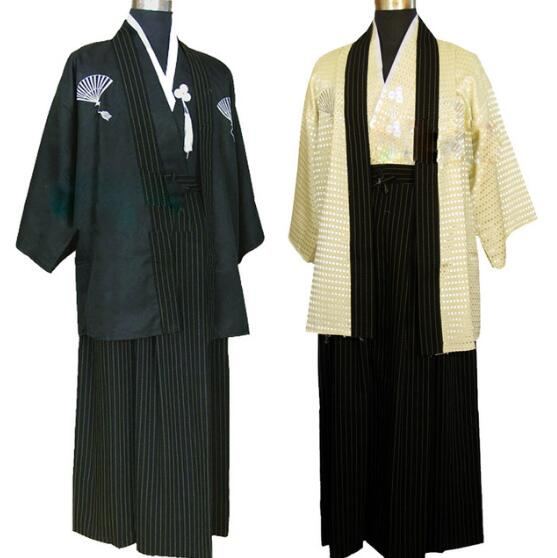 ecowalson Mens Japanese Traditional Samurai Men Kimono Warrior Robe Outfit Costume