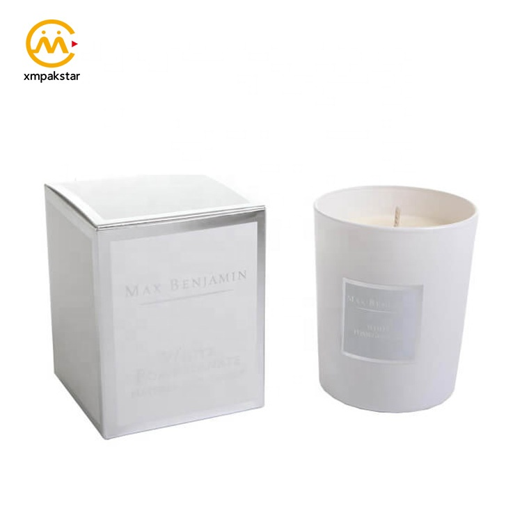High end custom logo printed black cardboard cylinder candle packaging paper box