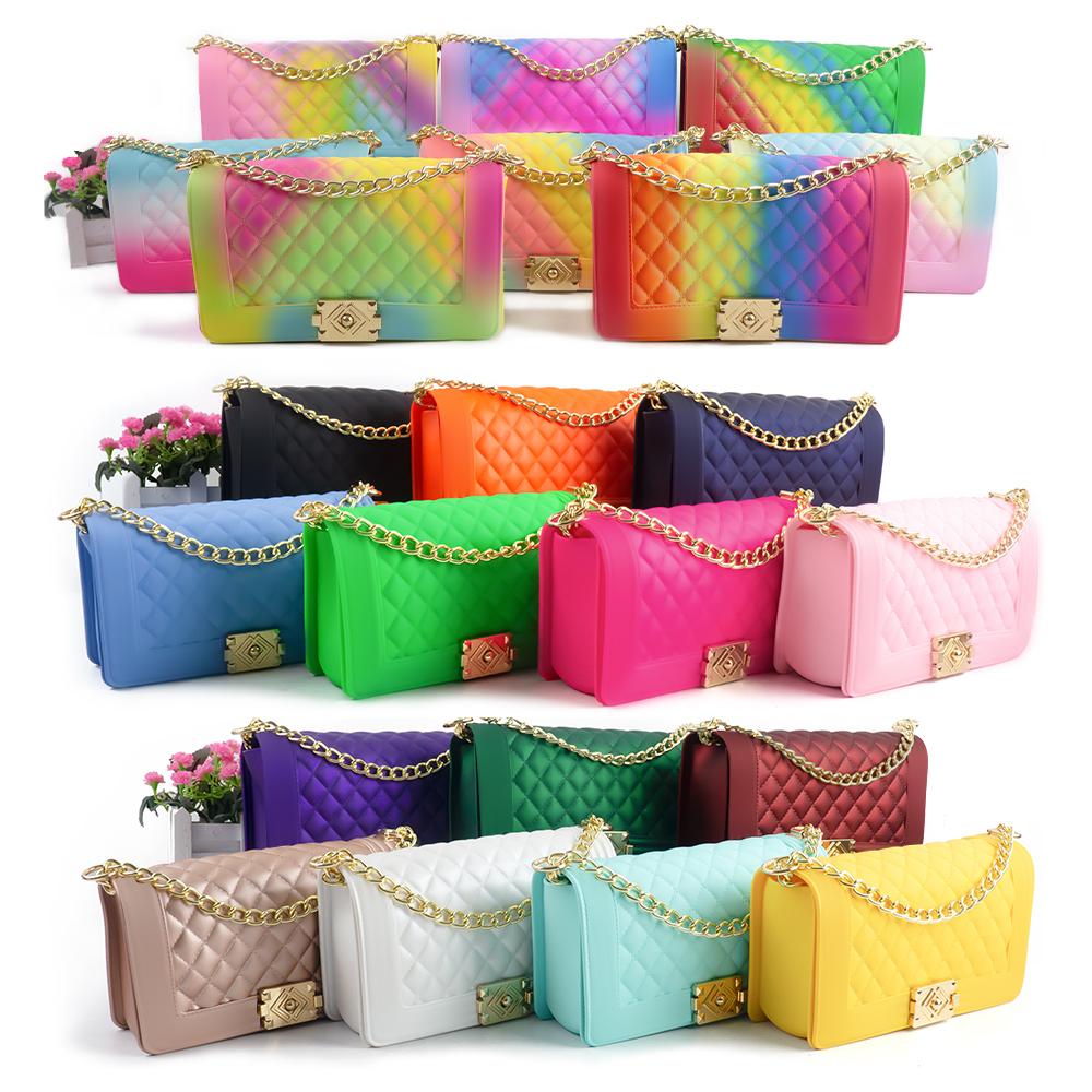 Wholesale women bag handbags 2021 silicone/PVC shoulder handbag jelly bag luxury ladies woman hand bags candy jelly purse