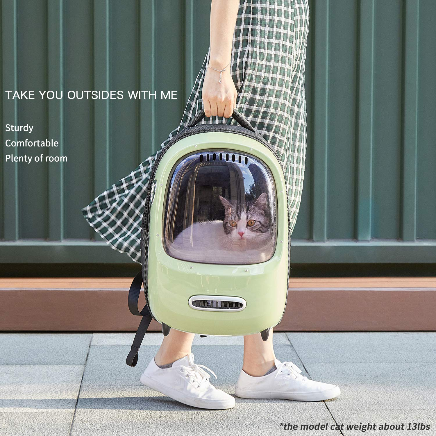 PETKIT Luxury Plastic Cat Pet Carrier with internal lamp ,fresh air system, dark brown window and widened bottom