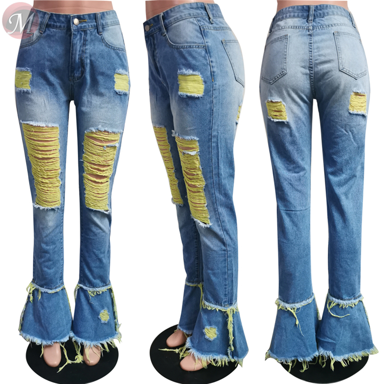 0061111 Fashion New Style Mid Waist Washed Distressed Denim Pants Ripped Holes Rough Selvedge Colored Flared Women Jeans Pants