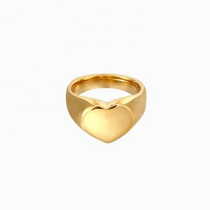 Delicate Smooth Heart Ring Finger Jewelry 18K Gold IP Plating Stainless Steel Chunky Ring