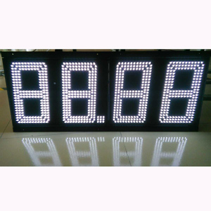 12 inches 7 segment led sign high water proof white double sided led gas price sign for fuel station
