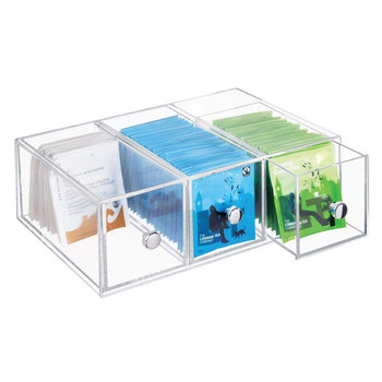 clear Stackable lucite tea bag organizer clear acrylic makeup storage box with drawer