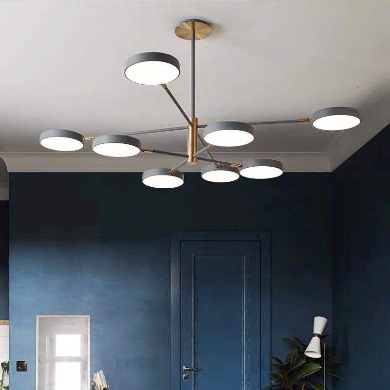Postmodern macaroon Nordic living room chandelier simple wrought iron online celebrity lamps home bedroom restaurant lighting