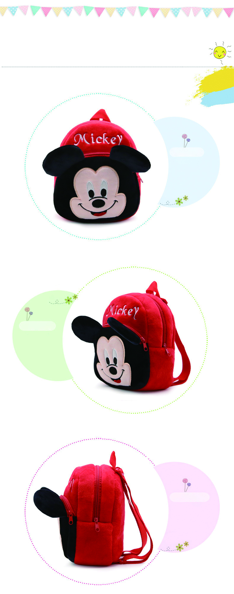 wholesale different style Mickey children cute velvet school kids backpack