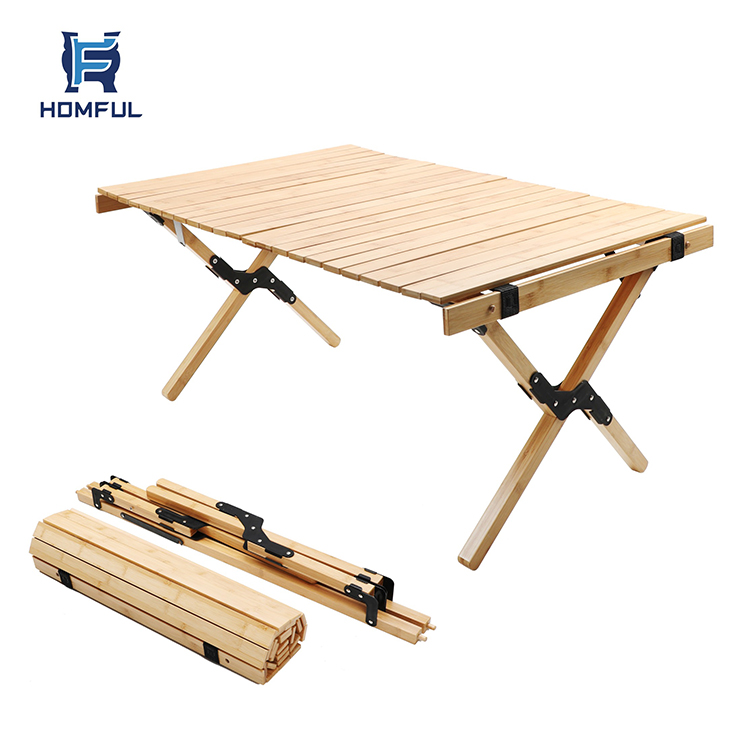 2020 HOMFUL Folding Camping Wood Table for beach, picnic, camp or as a gift