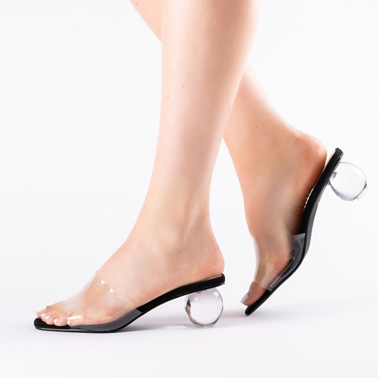 fashion hot selling transparent upper sauqre open toe <strong>sandals</strong> with round clear heel