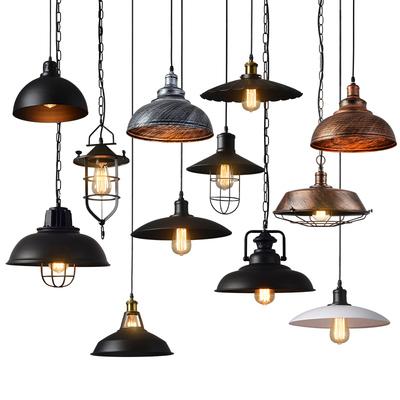 industrial wind retro chandelier wrought iron loft restaurant lamp nostalgic office bar pot lid hanging lamps