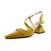MLJUESE/2020 женские босоножки из коровьей кожи в римском стиле; Цвет желтый; Пляжные сандалии с острым носком на высоком каблуке; Вечерние свадеб...(China)