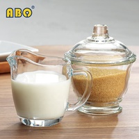 19YRS Traditional Classic modern style breakfast coffee mate set transparent glass suger pot+creamer