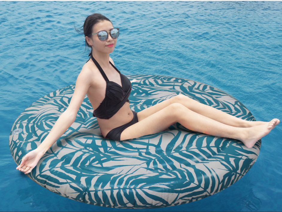 Adult printing floating row round floating row super large floating bed water inflatable toy floating air cushion
