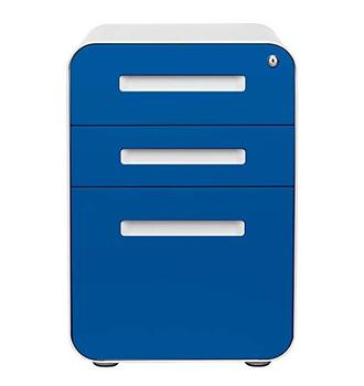 Office furniture round edge   blue 3 drawer metal  mobile pedestal file cabinet on wheels any workstation