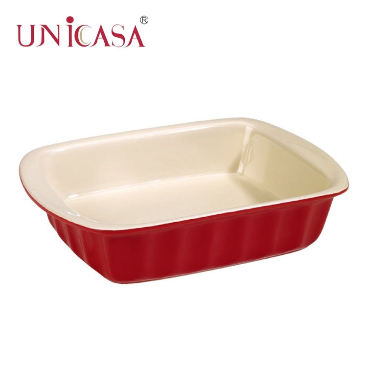 8pcs red stoneware complete useful rectangle bakeware set baking tray sets custom round large ceramic casserole dish with lid