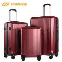 Classic Vintage ABS 3 pieces Set Trolley Bags Hard Shell Travelling Spinner Luggage Suitcase set