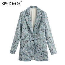 Женский блейзер с цветочным принтом KPYTOMOA, винтажный офисный пиджак с длинным рукавом и разрезом сзади, верхняя одежда, 2020(Китай)