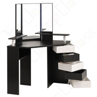 High quality luxury vanity modern girl black wood dressing table with multiple drawers