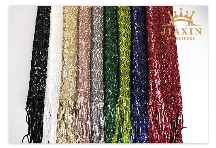China Custom Fringe Polyester Dance Dress Silver Sequin Fabric