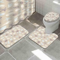 Wholesale Nice Quality Custom Printing Anti-slip Toilet Bath Mats Fug Bathroom