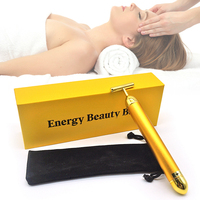 Face Pull Tight Firming Lift Beauty Bar 24k Golden Pulse T-Shape Electric Face Massage Tools