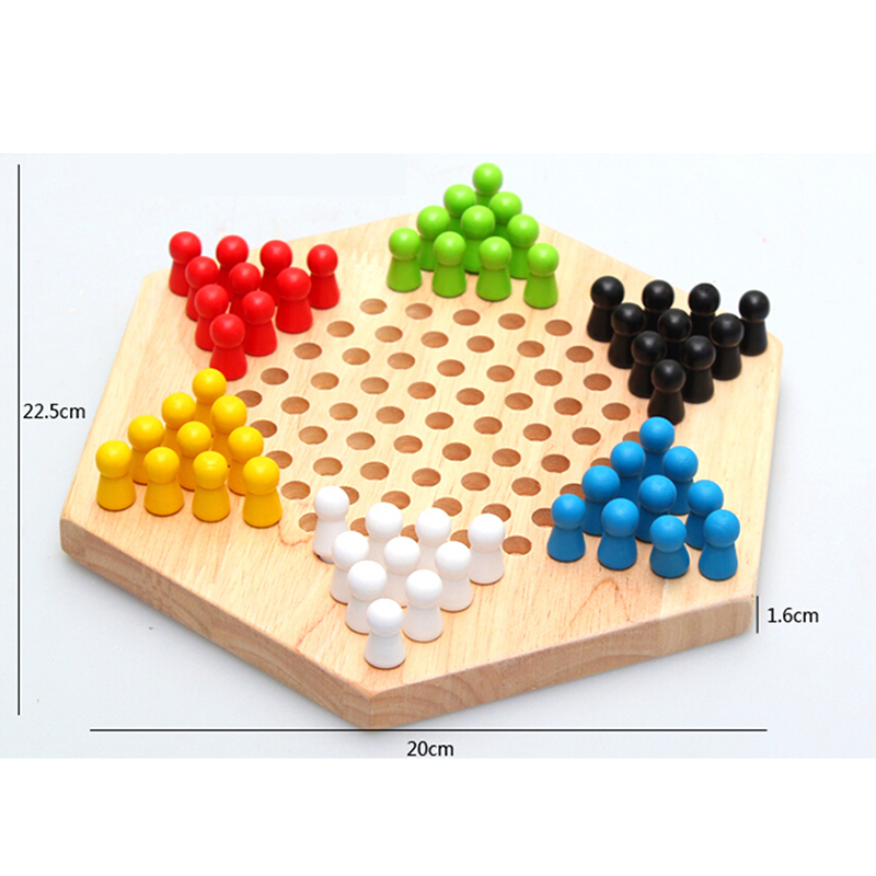 Hot Sale on Amazon <strong>Wood</strong> Toys Strategy Games Hexagonal Star Boards Colorful Chess Playing for Kids