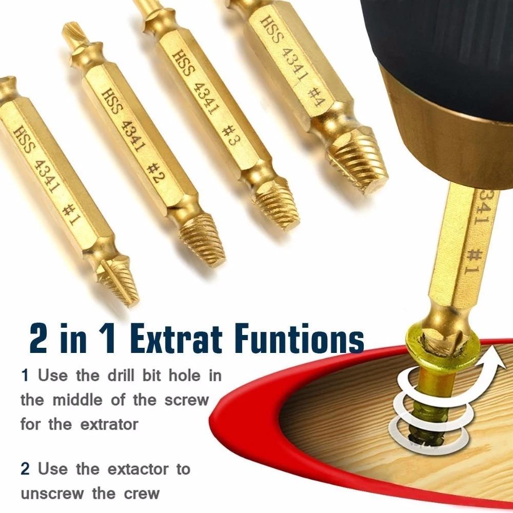 Envío gratuito 5 unids/set 4341 HSS acero de alta velocidad chapado en titanio de doble cara dañado tornillo Extractor broca para carpintería