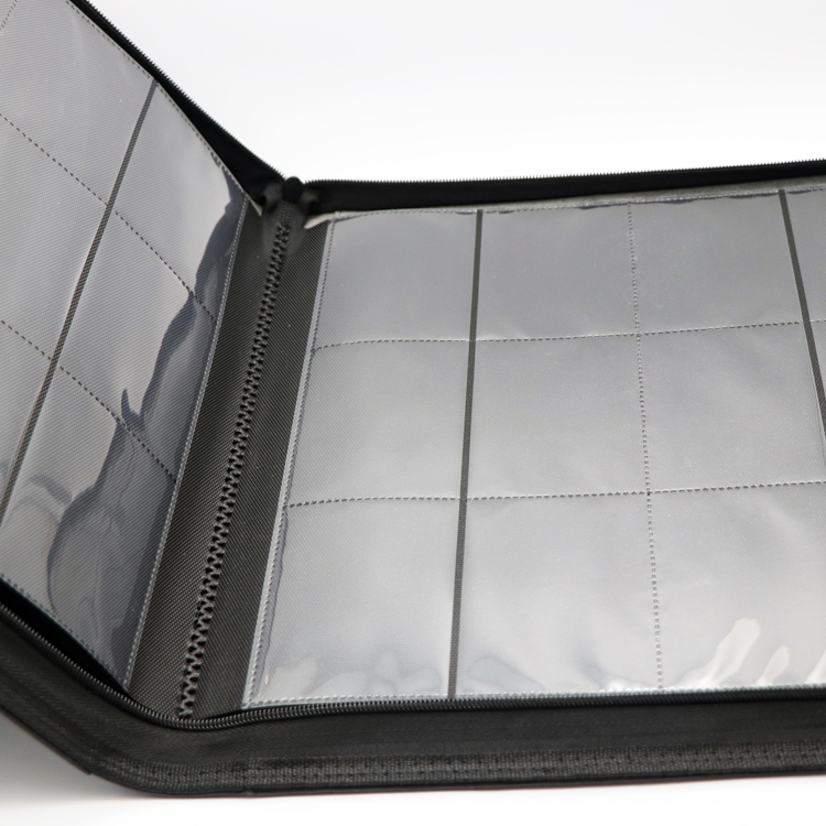 New Arrival Premium 12-pocket PU leather binder with zipper closure for MTG game card collection