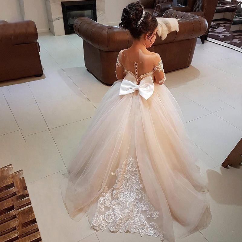 शादियों के लिए बेटी और मां फूल लड़कियों के कपड़े सरासर गर्दन पिपली फीता Tulle शादी के फूल लड़कियों के लिए ड्रेस