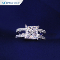 Tianyu Gems Customized 14K/18K Solid Gold 8.5x8.5mm Princess Cut Moissanite Wedding Rings
