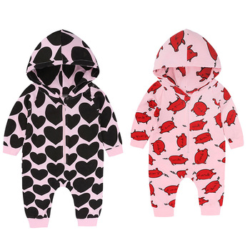 2019 new hot cute AliExpress explosions autumn Wholesale baby pig long sleeve hooded french fries infant rompers