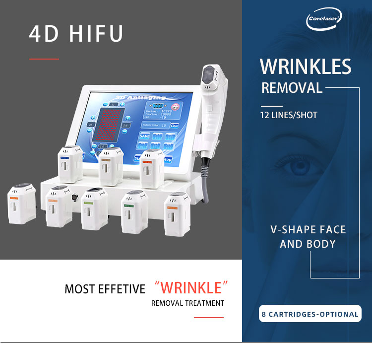 CORELASER 20000 shots 4d Hifu Professional Ultrasound Body Slimming Hifu / Face Lift Hifu Machine With Ce
