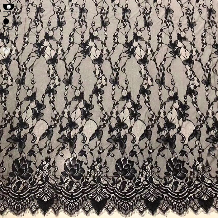 Customize French Chantilly Lace Fabric With Eyelash