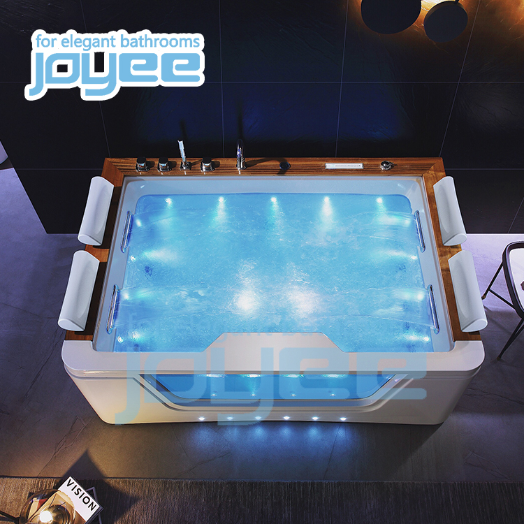 JOYEE Hot sale factory direct spa hydro massage acrylic bathtub freestanding whirlpool free standing for 4 person