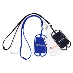Wholesale Custom Logo Print Silicone Fashionable MobilePhone Holder Lanyard Strap Smartphone Lanyard Holder With Card Pouch