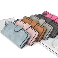 New Style PU Leather fashion Long Style Wallet Vintage Button large capacity purse bag card holder for women