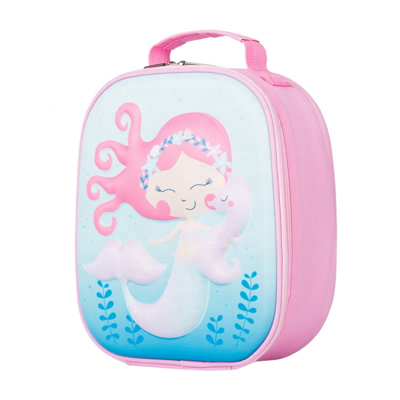 Heopono Reusable Fitness 3D Emboss Cartoon Meal Food Box Boy Girls Children School Eco Insulated Cute Thermal Lunch Bag for Kids