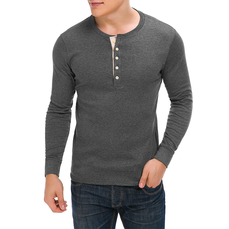 Men's Henley Cotton Long Sleeve Lightweight Basic Thermal T-Shirts With Buttons