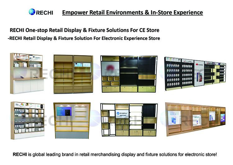 RECHI Custom Fashion Wood Display Stand Fixture for Electronic Accessory Wall in Retail Electronic Store