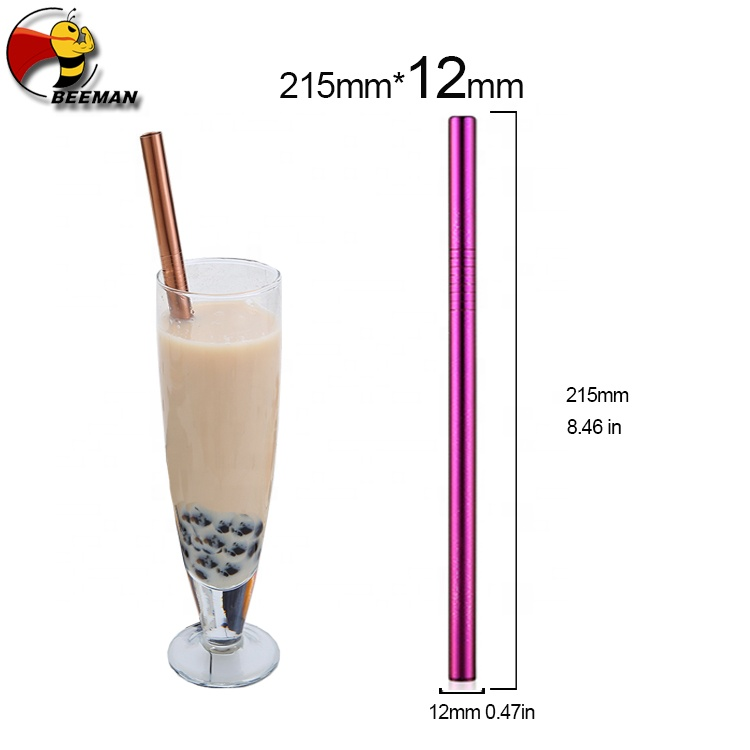 Beeman More Discount 215mm*12mm Eco Friendly Stainless Steel Bubble Tea Straw Drinking