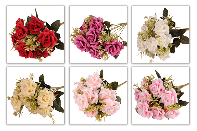 Beautiful 9 heads pink artificial rose flower bouquet and plants for Mother Day Wedding decoration