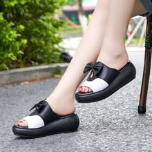 GKTINOO/женские сандалии из натуральной кожи, обувь на танкетке, женские летние туфли на платформе, женские шлепанцы с бантом-бабочкой(Китай)