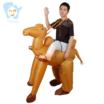 Unisex Adults Funny Halloween Party Holiday Costume Air Blow Up Suit Inflatable Ride on Camel Costumes