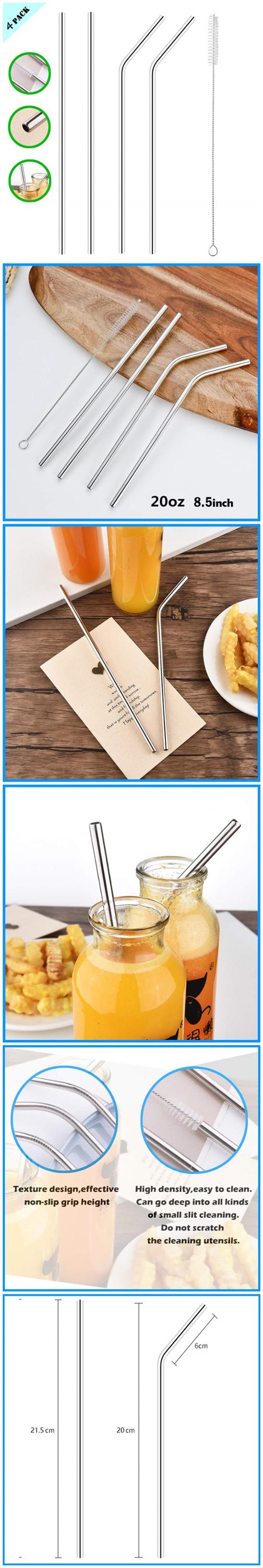 Reusable Portable Stainless Steel Metal Straw Set Of 4 Pack