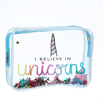 Seaygift new products 2019 innovative product transparent lovely animal unicorn glitter hand bag sequin cosmetic make up bag